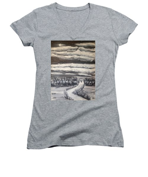 Women's V-Neck T-Shirt (Junior Cut) featuring the painting Beach Walk by Diane Pape