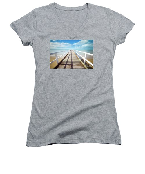 Women's V-Neck T-Shirt (Junior Cut) featuring the photograph Beach Walk by MGL Meiklejohn Graphics Licensing
