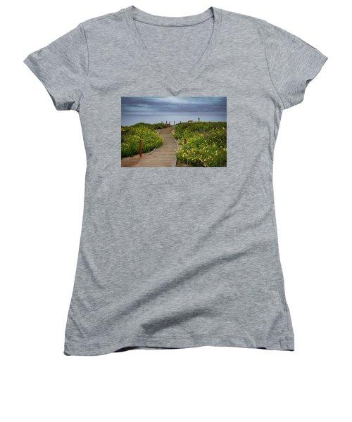 Beach Wildflowers Women's V-Neck T-Shirt