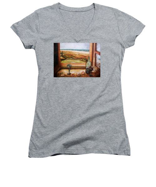 Women's V-Neck T-Shirt (Junior Cut) featuring the painting Beach Window by Winsome Gunning