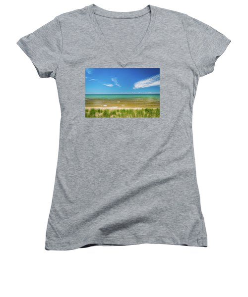 Beach With Blue Skies And Cloud Women's V-Neck