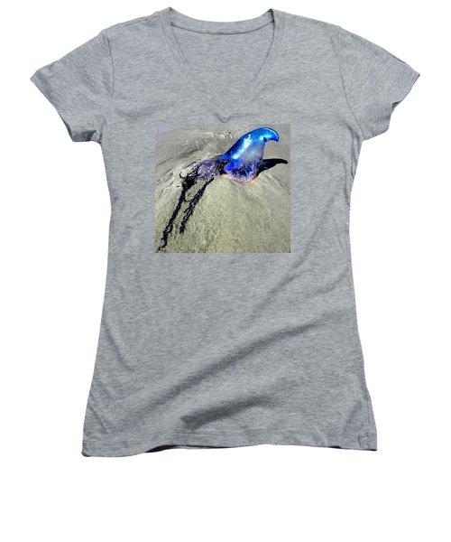 Beached Jellyfish 000 Women's V-Neck T-Shirt (Junior Cut) by Chris Mercer