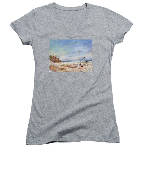 Beachy Day - Impressionist Painting - Original Contemporary Women's V-Neck