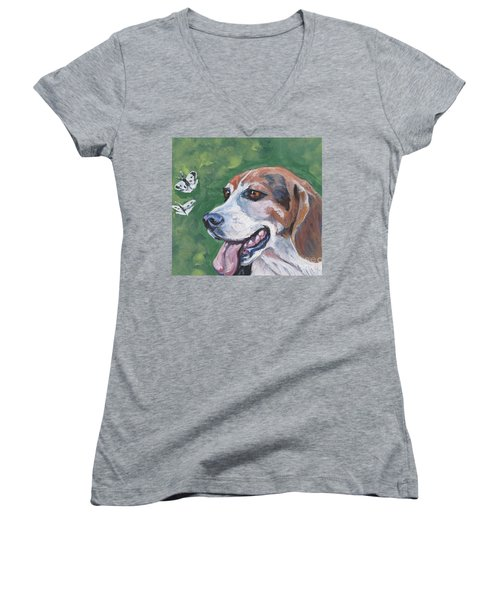 Women's V-Neck T-Shirt (Junior Cut) featuring the painting Beagle And Butterflies by Lee Ann Shepard