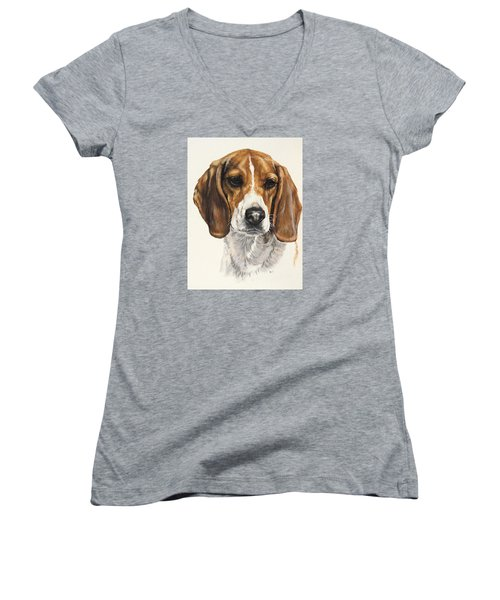 Beagle Women's V-Neck T-Shirt (Junior Cut) by Barbara Keith