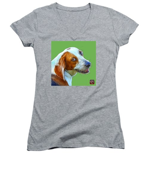 Beagle Dog Art- 6896 -wb Women's V-Neck