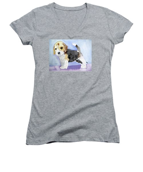 Beagle Pup Women's V-Neck T-Shirt (Junior Cut) by Sandy McIntire