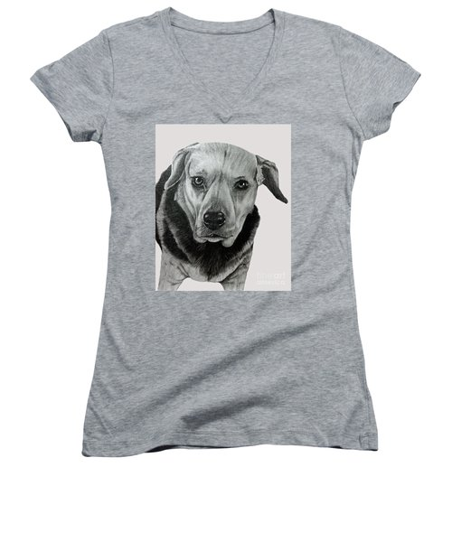 Beagle-shepherd Mix Women's V-Neck T-Shirt