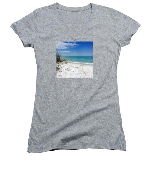Bean Point, Anna Maria Island Women's V-Neck T-Shirt (Junior Cut)