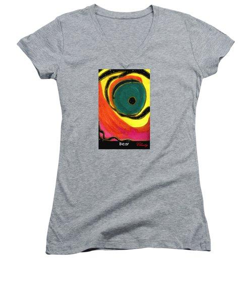 Bear Women's V-Neck T-Shirt (Junior Cut) by Clarity Artists
