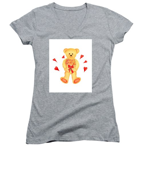 Women's V-Neck T-Shirt (Junior Cut) featuring the painting Bear In Love by Elizabeth Lock