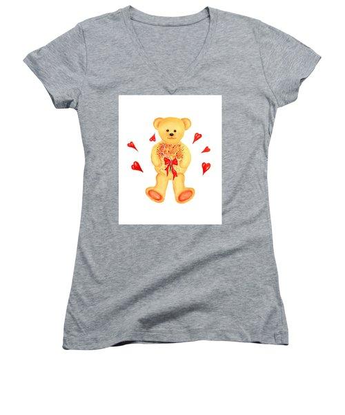 Bear In Love Women's V-Neck (Athletic Fit)