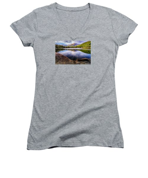 Bear Lake 3 Women's V-Neck T-Shirt (Junior Cut) by Mary Angelini