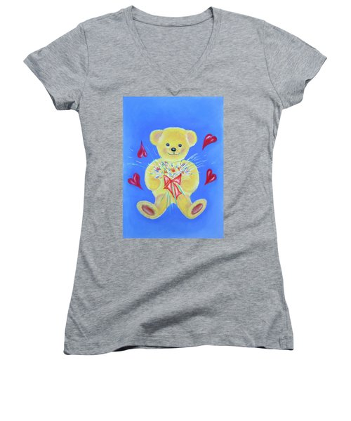 Bear With Flowers Women's V-Neck