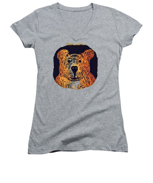 Bear With Me Women's V-Neck T-Shirt (Junior Cut) by John M Bailey
