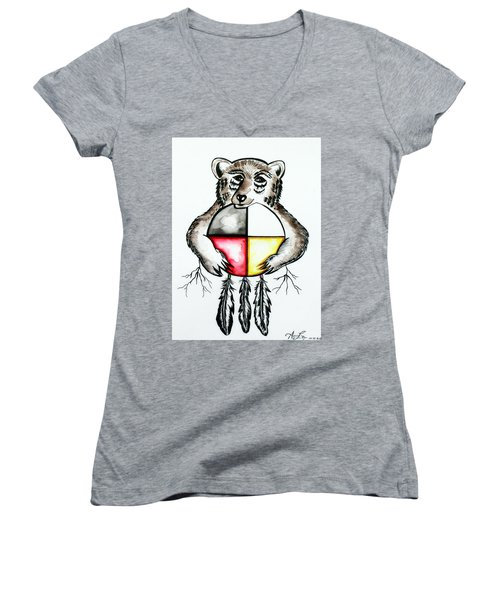 Bear With Medicine Wheel Women's V-Neck (Athletic Fit)