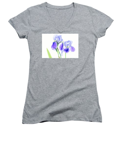 Bearded Iris Women's V-Neck T-Shirt (Junior Cut) by Robert FERD Frank