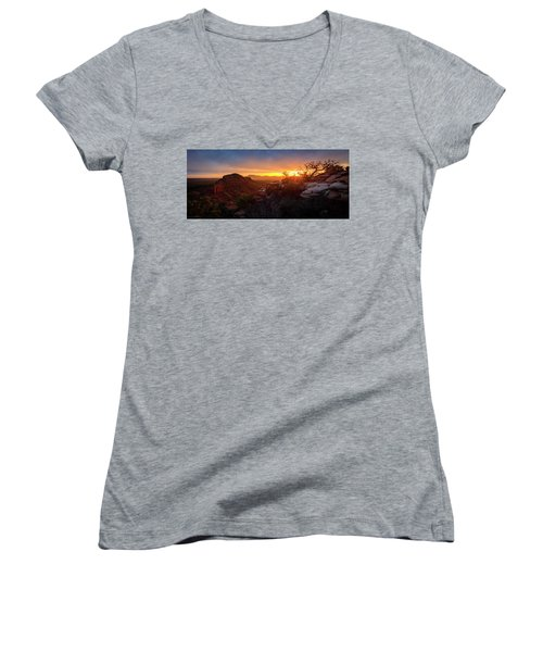 Bears Ears Sunset Panorama Women's V-Neck (Athletic Fit)