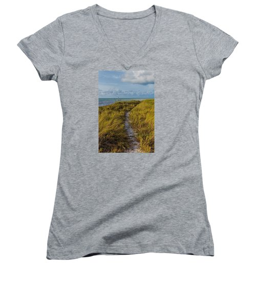 Beaten Path Women's V-Neck T-Shirt (Junior Cut) by Swank Photography