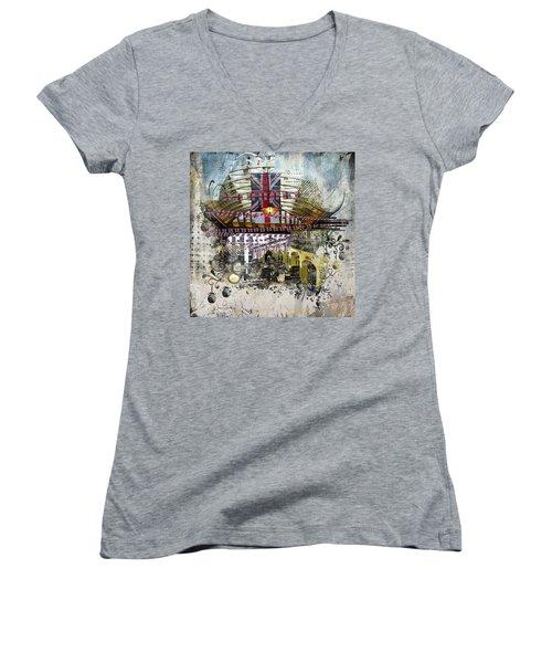 Beating Heart Women's V-Neck T-Shirt (Junior Cut) by Nicky Jameson