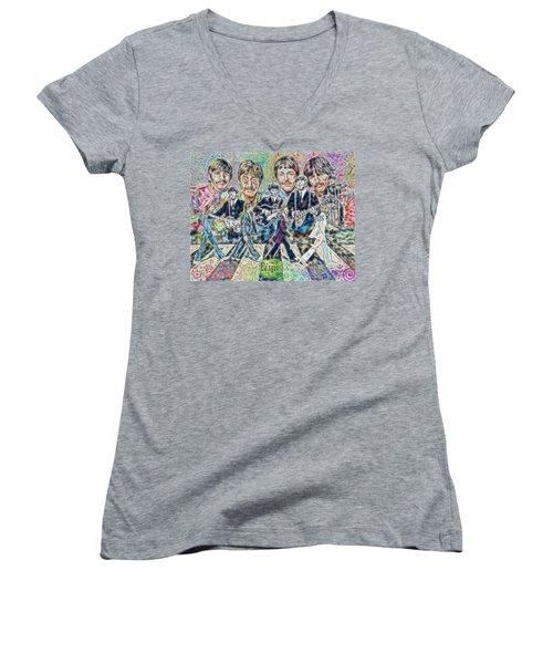 Beatles Tapestry Women's V-Neck T-Shirt