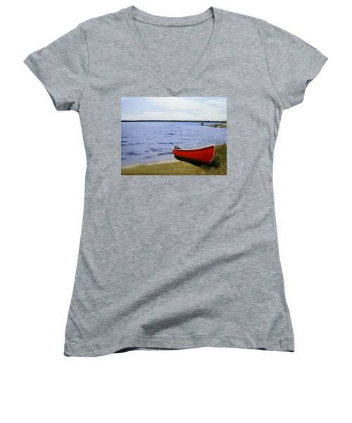 Beaultiful Red Canoe Women's V-Neck T-Shirt (Junior Cut) by Kenneth M  Kirsch