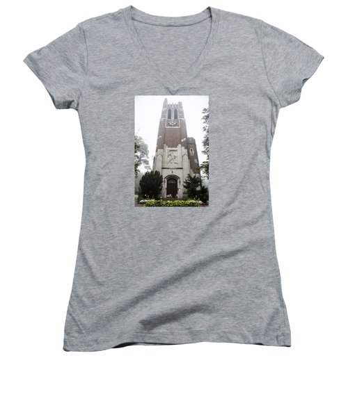 Beaumont Tower In The Fog  Women's V-Neck