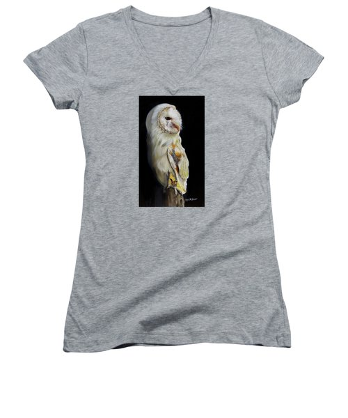 Women's V-Neck T-Shirt (Junior Cut) featuring the painting Beautiful Barn Owl by Phyllis Beiser