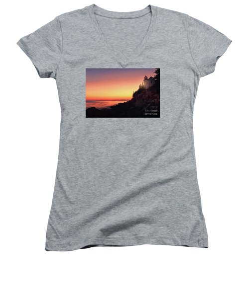Beautiful Bass Harbor Lighthouse Women's V-Neck (Athletic Fit)