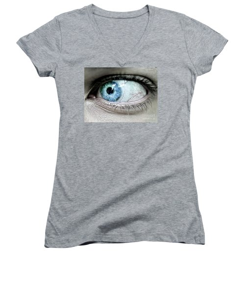 Beautiful Blue Eye Women's V-Neck