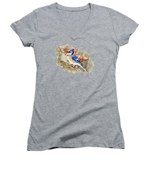 Women's V-Neck featuring the mixed media Beautiful Blue Jay - Watercolor Art by Christina Rollo