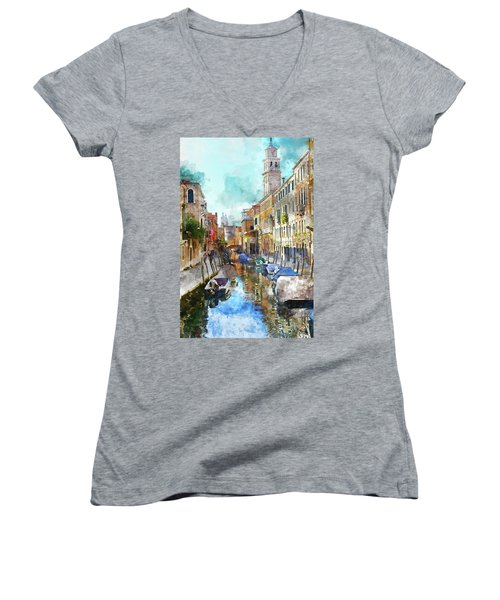 Beautiful Boats In Venice, Italy Women's V-Neck (Athletic Fit)