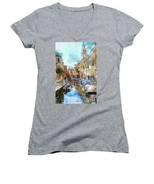 Beautiful Boats In Venice, Italy Women's V-Neck T-Shirt