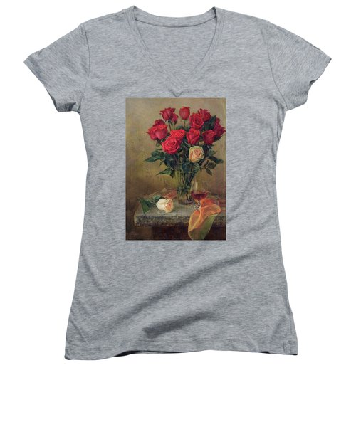 Beautiful Bouquet Of Roses Women's V-Neck T-Shirt