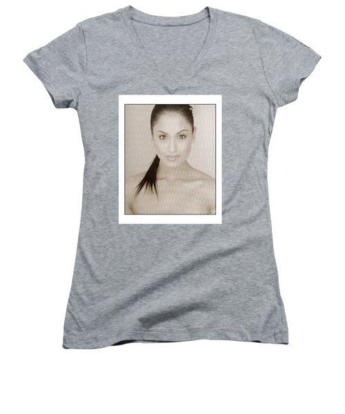 Beautiful Brunette In Studio Women's V-Neck T-Shirt (Junior Cut) by Michael Edwards