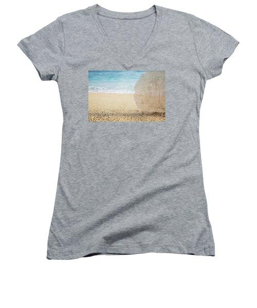 Beautiful Coral Element 1 Women's V-Neck T-Shirt