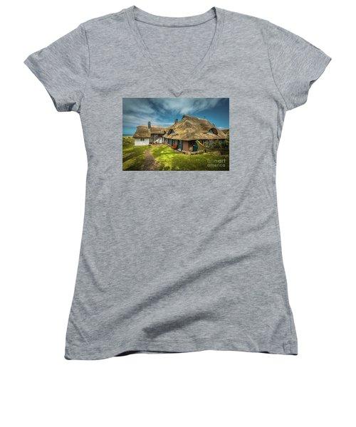 Beautiful Cottage Women's V-Neck T-Shirt (Junior Cut) by Eva Lechner