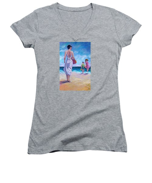 Beautiful Day At The Beach Women's V-Neck (Athletic Fit)