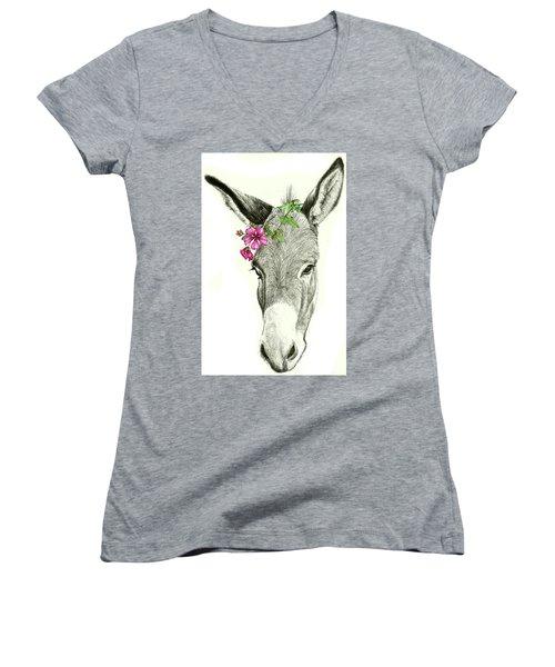 Beautiful Donkey Women's V-Neck T-Shirt (Junior Cut) by Heidi Kriel