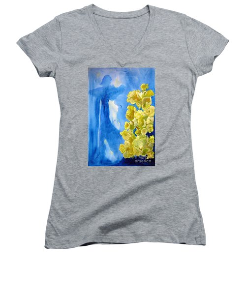 Women's V-Neck T-Shirt (Junior Cut) featuring the painting Beautiful Dreamer by Sandy McIntire
