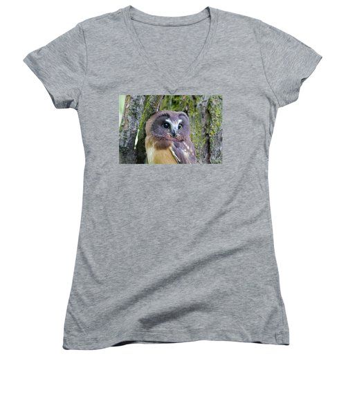 Beautiful Eyes Of A Saw-whet Owl Chick Women's V-Neck (Athletic Fit)