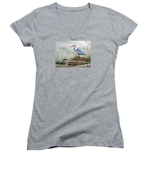 Beautiful Heron Shore Women's V-Neck (Athletic Fit)