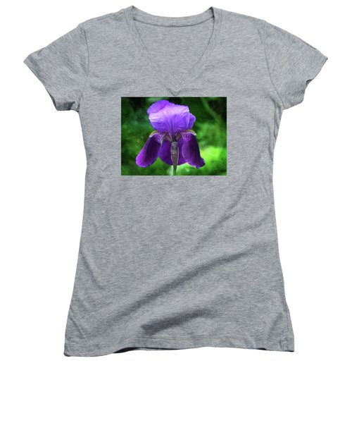 Beautiful Iris With Texture Women's V-Neck T-Shirt (Junior Cut) by Trina Ansel