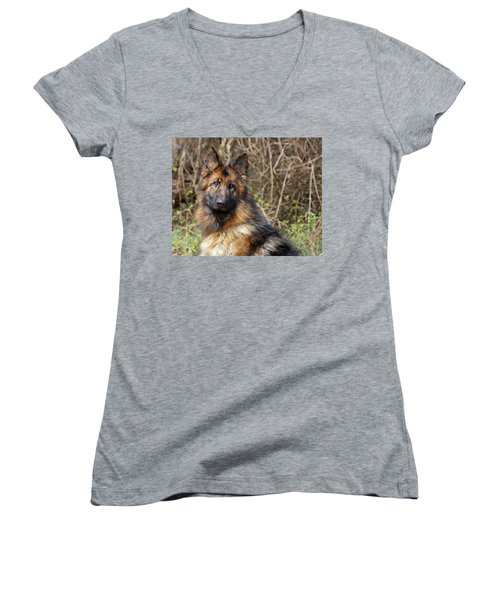 Women's V-Neck T-Shirt (Junior Cut) featuring the photograph Beautiful Jessy by Sandy Keeton