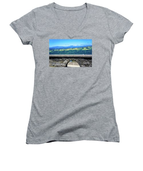 Beautiful Landscape From Vista House Women's V-Neck (Athletic Fit)