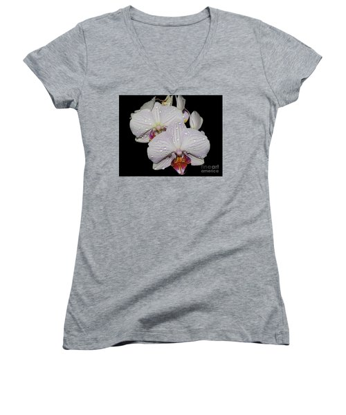 Women's V-Neck T-Shirt (Junior Cut) featuring the photograph Beautiful Oechid by Elvira Ladocki