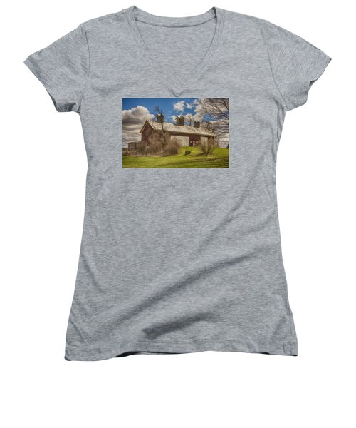 Beautiful Old Barn Women's V-Neck T-Shirt (Junior Cut) by JRP Photography