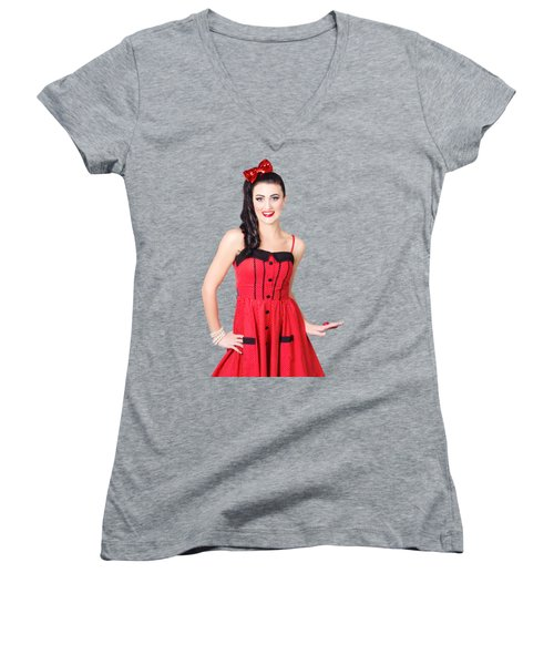 Women's V-Neck T-Shirt (Junior Cut) featuring the photograph Beautiful Pinup Girl With Pretty Smile by Jorgo Photography - Wall Art Gallery