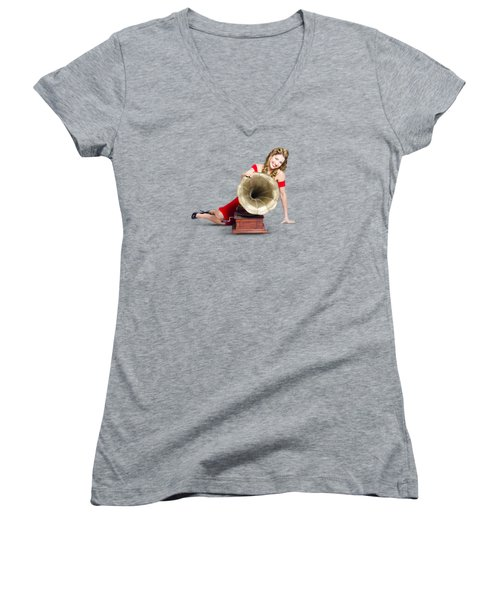 Beautiful Pinup Woman Listening To Old Gramophone Women's V-Neck T-Shirt (Junior Cut)