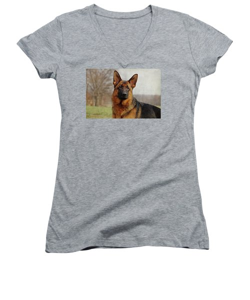 Women's V-Neck T-Shirt (Junior Cut) featuring the photograph Beautiful Raven by Sandy Keeton